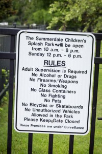 The hours and rules at the Summerdale, Alabama Splash Park