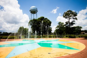 The fountains and water tower at the Summerdale, Alabama Splash Park