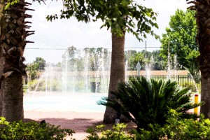 The fountains and trees at the Summerdale, Alabama Splash Park