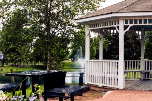 The gazebo and pond at the Summerdale, Alabama Splash Park